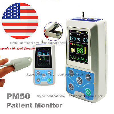 CONTEC ICU Vital Sign Patient Monitor NIBP SPO2 PR with Software PM50,adult cuff