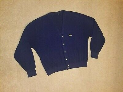 IZOD LACOSTE Vintage Cardigan Sweater Navy Blue Alligator Croc Logo MENS LARGE