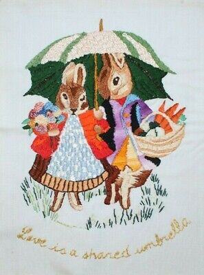 Two Rabbits Dressed Umbrellas Flower Hand Embroidered Crewel Completed Finished