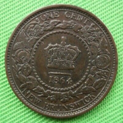 1864 Canada - Queen Victoria New Brunswick One Cent -
