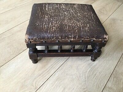 Vintage wooden footstool for refurb project worn leather effect top
