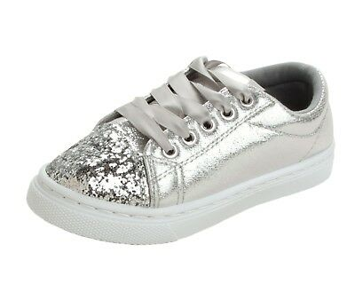 Girls Casual Lace Up Pumps Trainers Silver Glitter Party Skate Shoes Kids Size