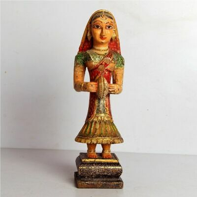 Vintage Wooden Miniature Painting Tribal Lady Playing Musical Instrument Figure