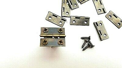 24 Jewellery Box Dolls House Hinges 42mm Long With Screws Quality Brassed 6 12