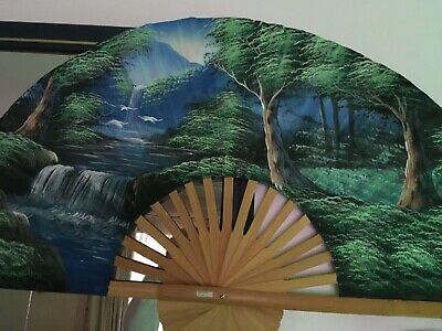"""Large Oriental Vintage Hand Painted Chinese Fan Decorative Wall Hanging Art 40"""""""