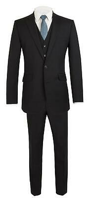 SCOTT Mens Premium Wool Blend Plain Black Suit Combination