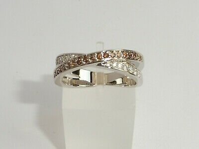 Ladies 925 Solid Silver Sterling Brown Citrine and White Sapphire Ring Size O