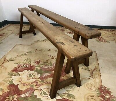 Antique French Farmhouse Benches Primitive