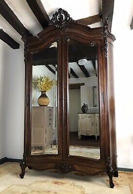 Antique French Bombe Style Mirrored Double Armoire Wardrobe Linen Cupboard