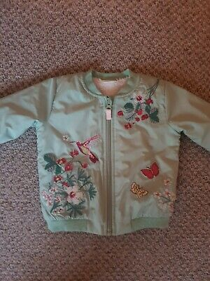 Next Baby Girls Mint Green Embroidered Bomber Jacket Age 9-12 Months