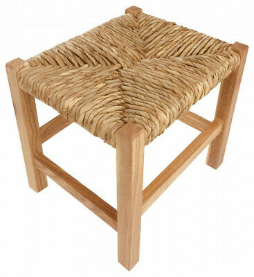 Wooden Foot Stool Woven Raffia Top Kitchen Dining Decor Stools Shabby Chic Trend