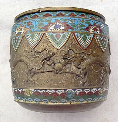 Antique Chinese Bronze Jardiniere Raised 3-toed Dragons Champleve Cloisonne