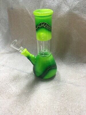 "7"" Collectible Tobacco Glass Water Pipe Bong Bubbler Hookah + Smoking Bowl Rasta"