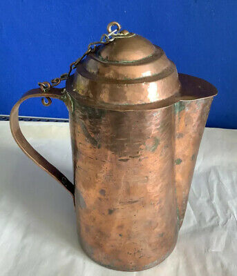 Antique Arts And Crafts Hand  Beaten Copper Coffee Pot