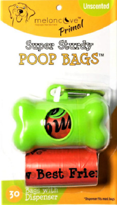 Earth Friendly Poop Dog Waste Bags Free Dispenser Primal Extra Strong Leak-Proof