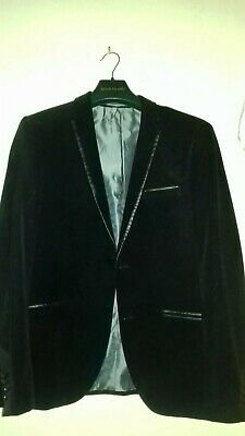 Mens black VELVET BLAZER Wedding /Evening Dinner Jacket Mens chest Size M 40-42