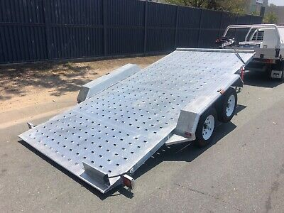 New 2.0t Hydraulic Ram Tilt Car Trailer 5500 Kg Electric Winch Galvanised