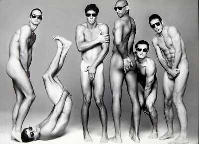 POSTCARD Print / 6 nude male models with sunglasses / Gay Interest