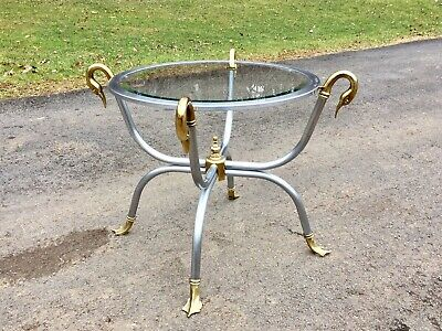 VTG Hollywood Regency Modern Round Glass Top Metal End Table w/ Brass Duck Heads