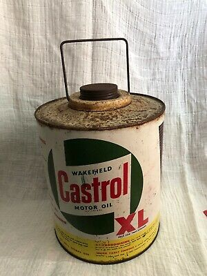 vintage WAKEFIELD CASTROL Motor Oil XL / VICTA Motor Mower Fuel Tin/ Can