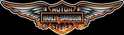 """9"""" Harley Davidson Winged Bar And Shield W/Real Fire In Logo Window Decal Bumper"""