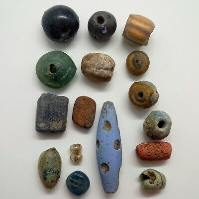 Beads  Glass set 16pc. / 600-100BC. Celtic / Bosporus / Scythian  Bead Gilded