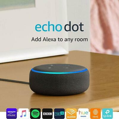 Amazon Echo Dot - 3rd Generation  Smart Speaker with Alexa Charcoal Fabric - New