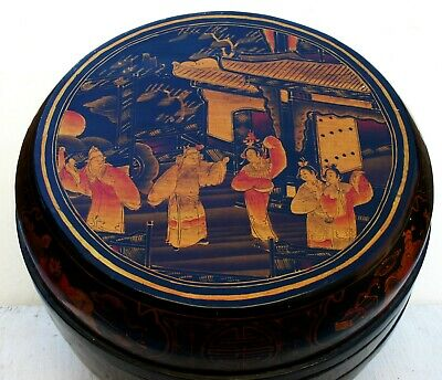 Vintage Chinese Round Black lacquer rice or storage box with gold red figures
