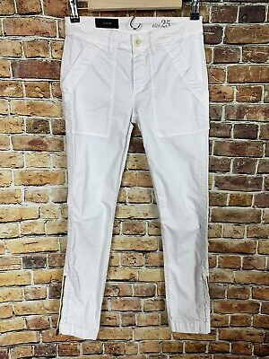 J. Crew White Skinny Stretch Cargo Pants Size 25 Zipper On Ankle