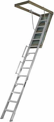 Louisville Ladder Al228P Aluminum Attic Ladder With 350 Lb Load Capacity And 10'