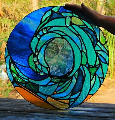 ' OCEAN WAVE ' ABSTRACT Stained Glass DISK WINDOW or DOOR Blue & Turquoise