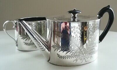 19th century Hukin and Heath Silver Plate Teapot and Sugar bowl