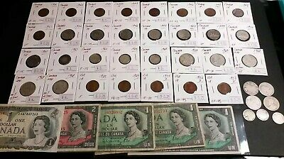 HUGE LOT!! of Canada US Coins And Banknotes MOST ARE SILVER
