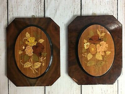 """Two Italian Marquetry Inlaid Wood Floral Wall Art 9"""" x 7"""" Plaques"""