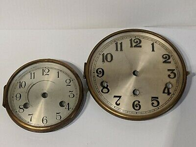 2 Vintage Clock face/dial with hinged chrome with glass