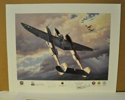 """/""""High Noon Over Alicante/"""" Roy Grinnell Print co-signed by P-38 Ace J.T Robbins"""