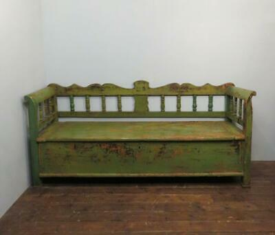 Antique Painted Farmhouse Box Settle / Rural Bench With Storage Shorter Size