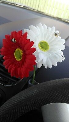 Pair of Gerbera Daisy Dashboard Car Flower for VW Beetle / Bug Vase + FREE GIFT