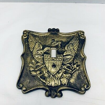 Vintage Brass Metal Single Light Switch Cover Plate with Eagle Americana Heavy