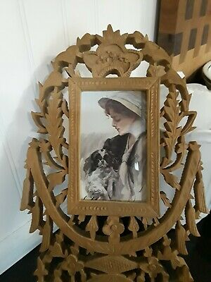 Intricate CARVED ANTIQUE PICTURE FRAME Wooden India VICTORIAN Family Photos Wood