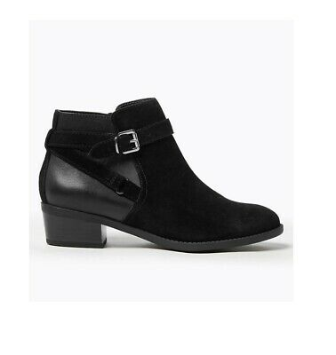 Ex M&S Women's Wide fit Suede Side Buckle Ankle Boots Black UK 3 RRP £59