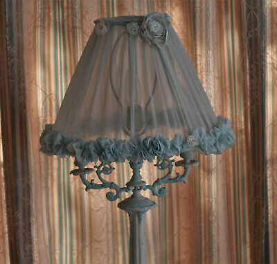 Vintage French Empire Distressed Shabby Chic Table Lamp and Shade
