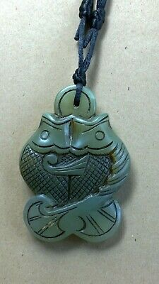 Dark Green Nephrite Jade Conjoined Fish Play w/Ball Pendant on Adjustable Cord.