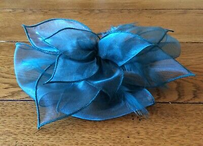 Fascinator - turquoise blue organza ribbon and artificial feathers