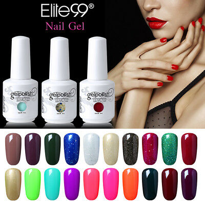 Elite99 15ML Colour Gel Polish Nail Art Lacquer Manicure No Wipe Top Base Coat