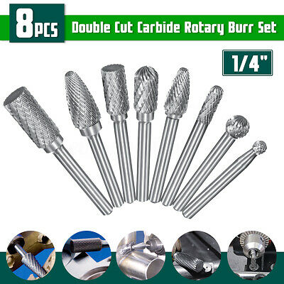 8Pcs 1/4'' Shank  Double Cut Tungsten Carbide Alloy Burr Rotary File Power Tools