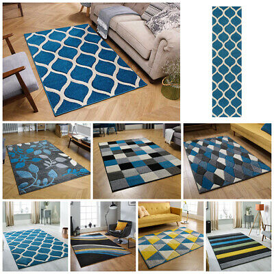 Small Large Runner Carved Multi Coloured Trellis Budget Teal Blue Clearance Rugs