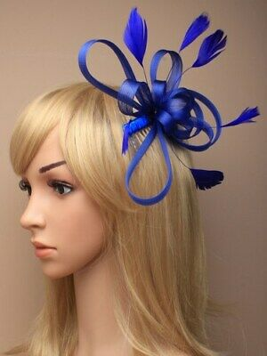 Royal blue fascinator with loops and feathers on clear comb.