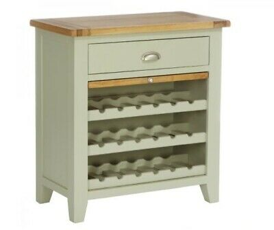 Genuine Solid Oak Furniture 1 Drawer Wine Rack with Pull Out Shelf - French Grey