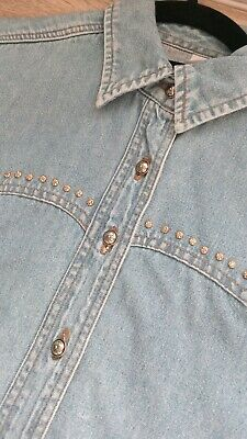 Ladies 12-18 Denim Shirt Emboidery Detail Buttons Long Turn up Sleeve M/&S *LICK*